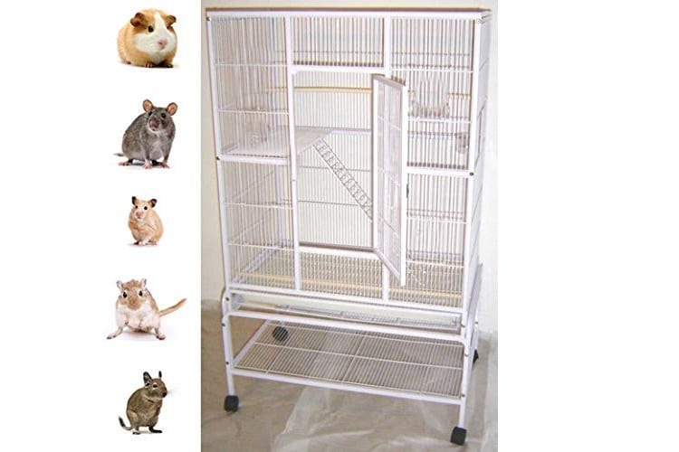 MCCAGE New Large Wrought Iron 4 Levels Ferret Chinchilla Sugar Glider Rats Mices Rabbit Squirrel Hamster Cage with Removable Stand Review