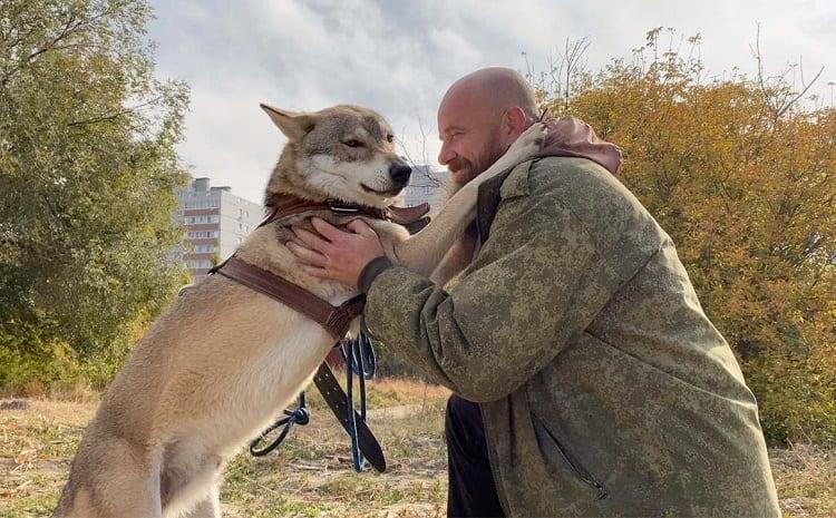 Man Hugging Wolf